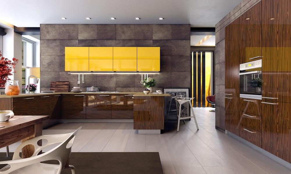 Кухня с фасадами шпон