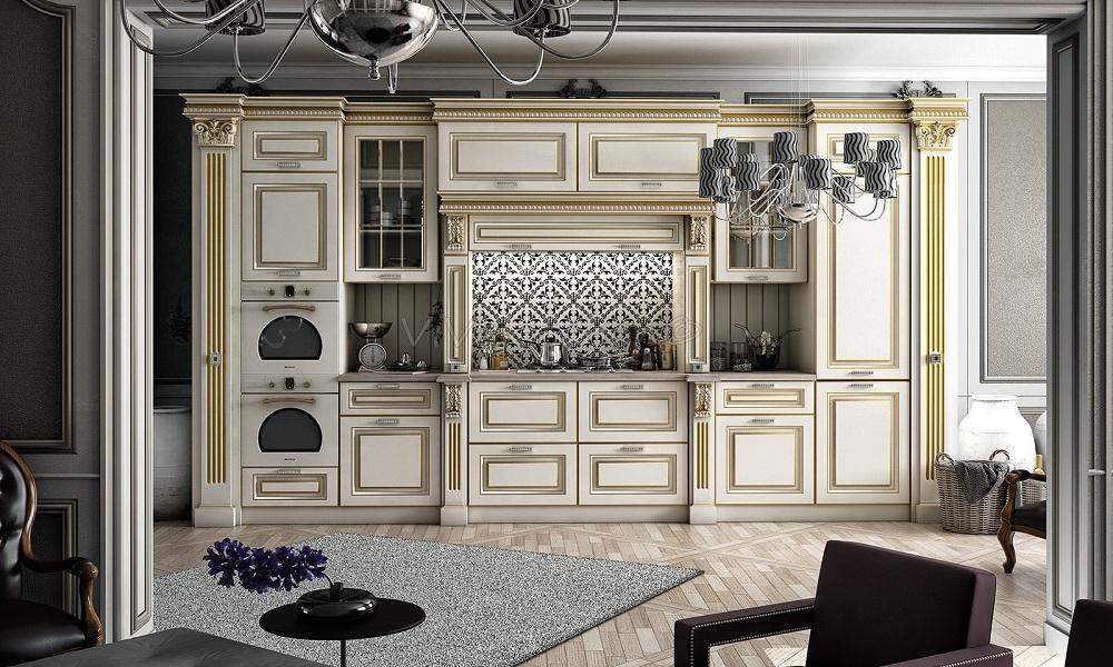 Кухня с крашенными классическими фасадами