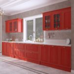 Красная кухня из массива VENETTA ITALY