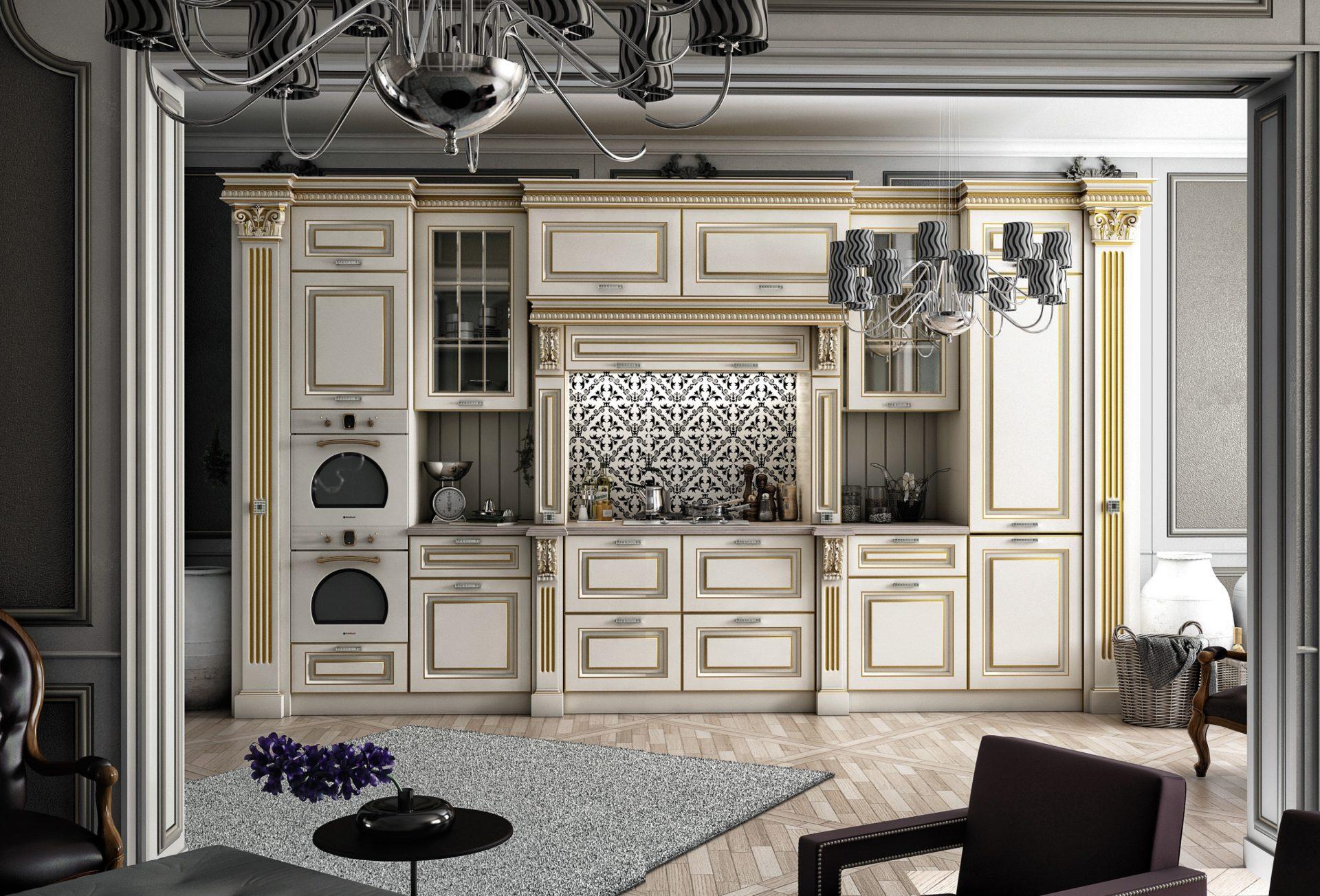 кухня классика светлая с патиной фото интерьер