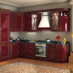 Кухня бордовая с золотом DIAMANTE