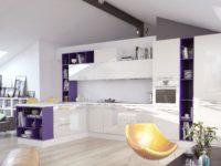 Белая глянцевая кухня в современном стиле MIX