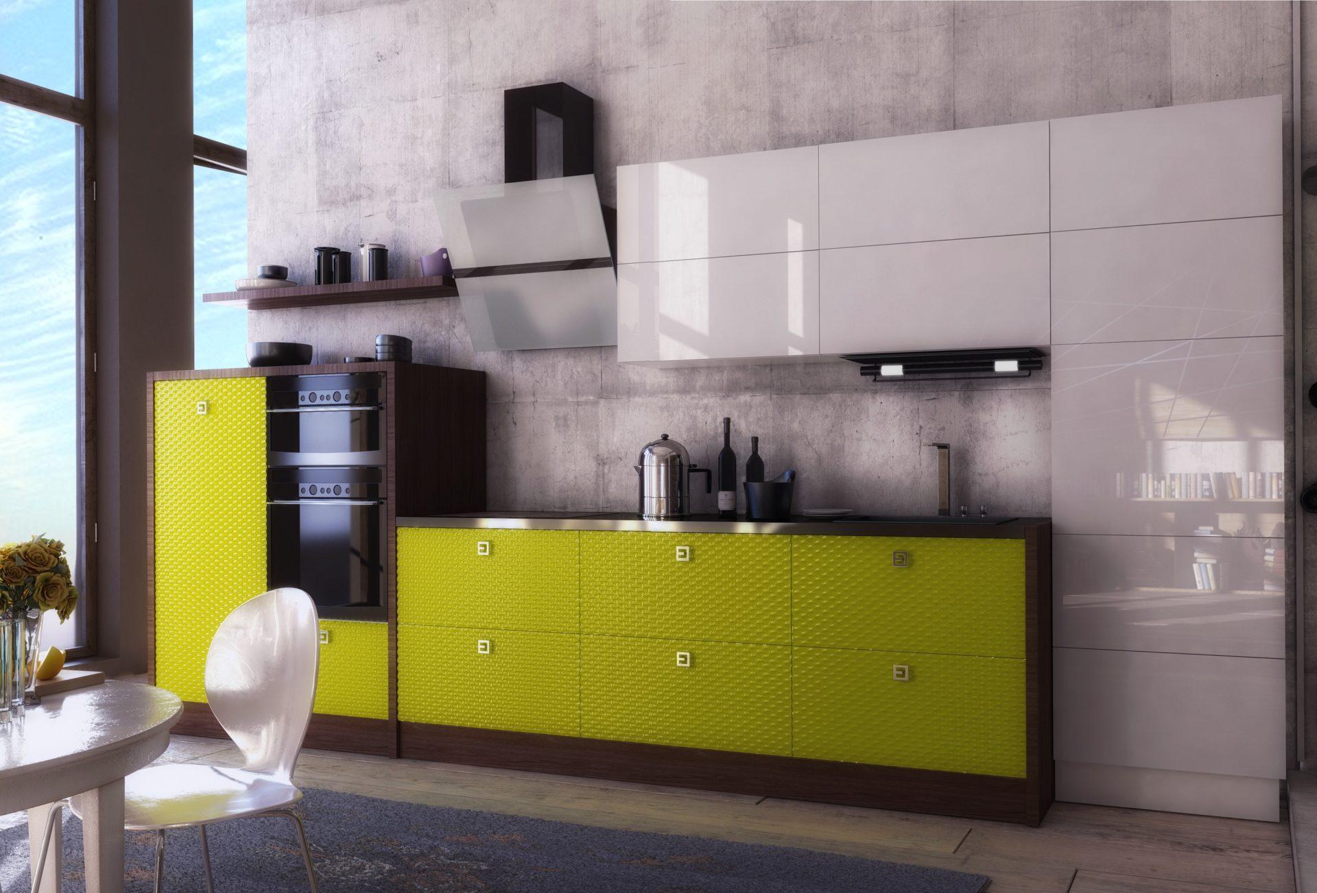 Кухня белый с лаймом в стиле хай-тек NORMA LUX