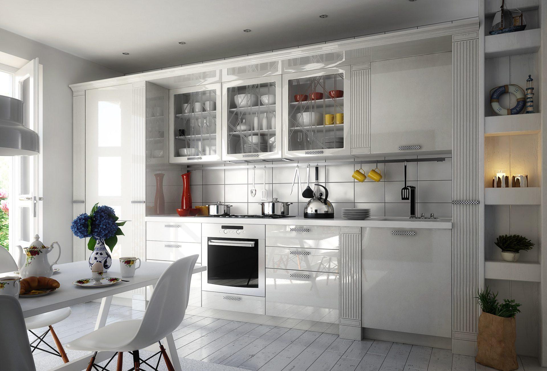 Белая кухня в стиле неоклассика VIVA под заказ в &КУХНИ