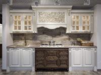 Белая дизайнерская кухня из массива