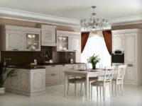 Бело серая деревянная кухня ARVA