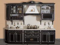 Маленькая черная кухня из массива березы