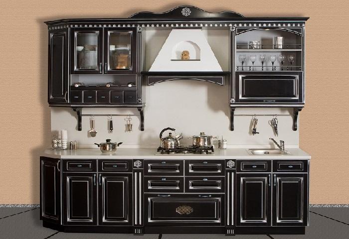 Классическая маленькая черная кухня под заказ в